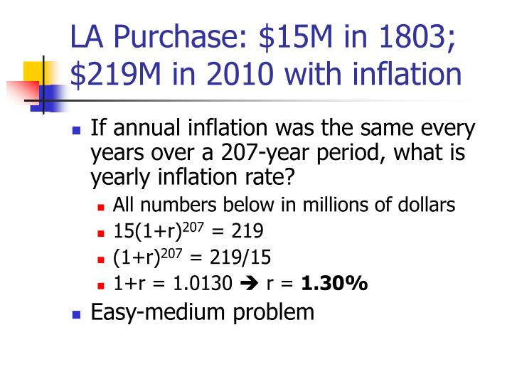 LA Purchase: $15M in 1803; $219M in 2010 with inflation