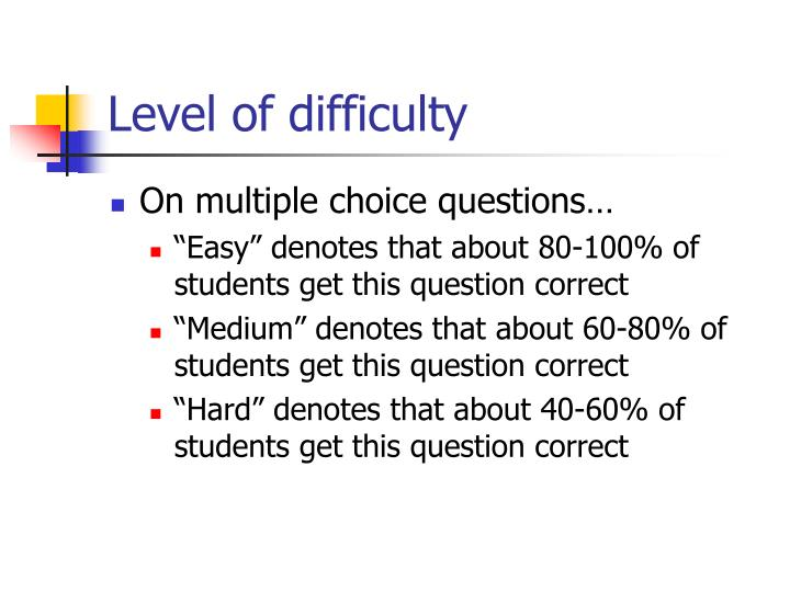 Level of difficulty