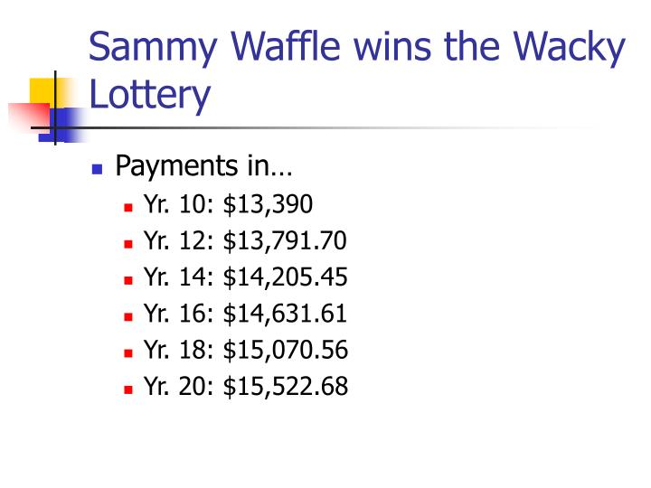Sammy Waffle wins the Wacky Lottery