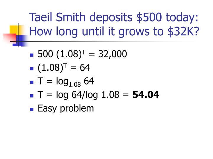 Taeil Smith deposits $500 today:
