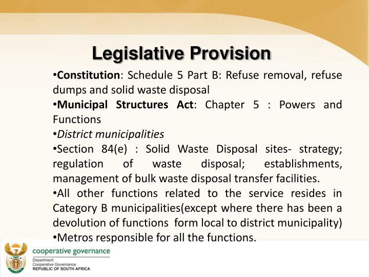 Legislative Provision