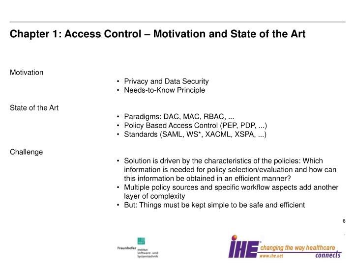 Chapter 1: Access Control – Motivation and State of the Art