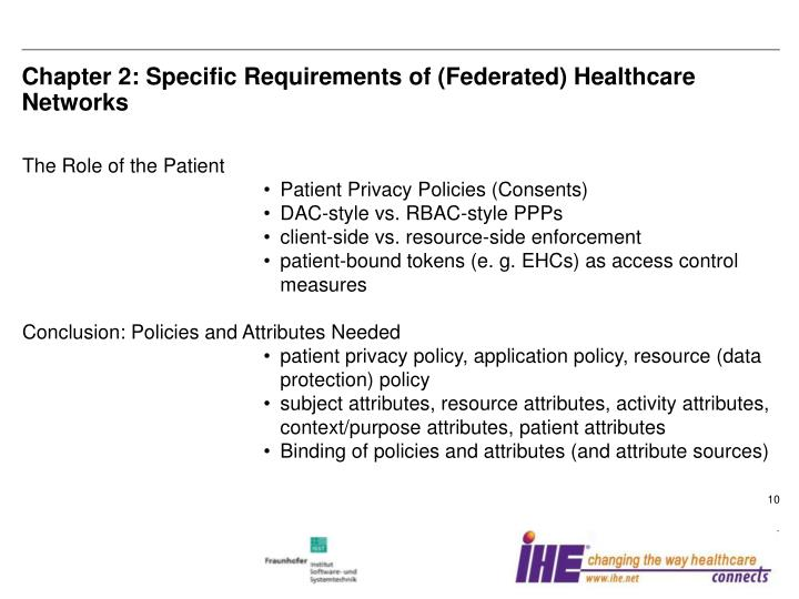 Chapter 2: Specific Requirements of (Federated) Healthcare Networks