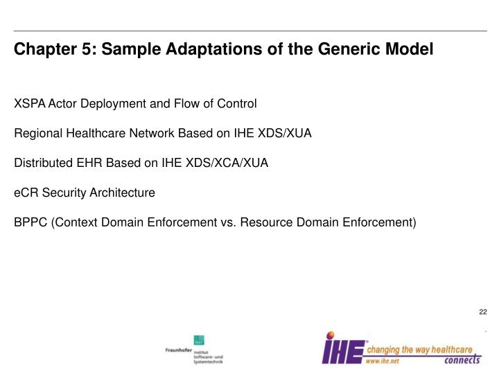 Chapter 5: Sample Adaptations of the Generic Model