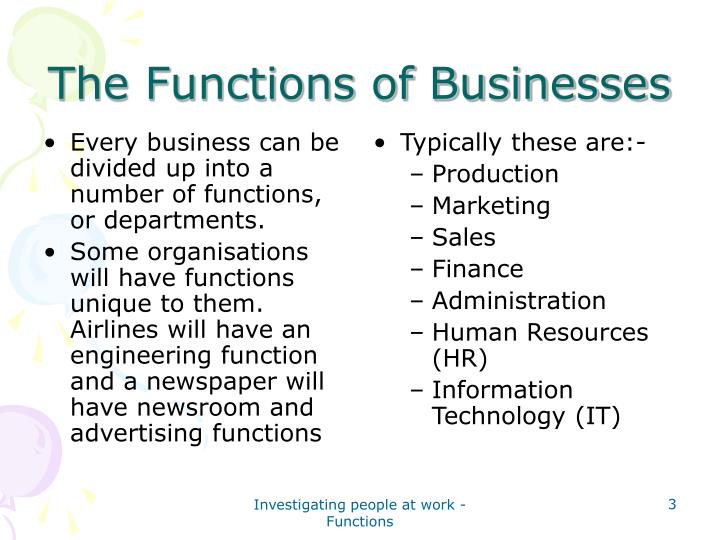 The functions of businesses