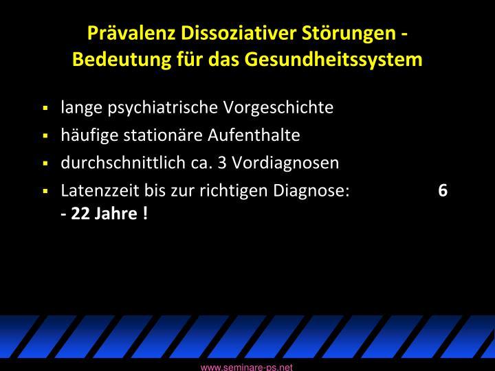 Prävalenz Dissoziativer Störungen - Bedeutung für das Gesundheitssystem