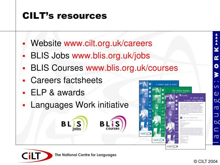 CILT's resources