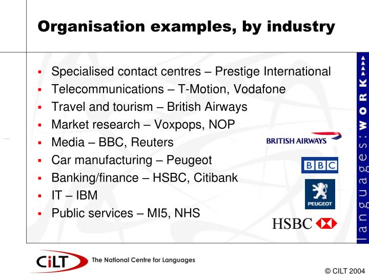 Organisation examples, by industry
