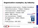 organisation examples by industry