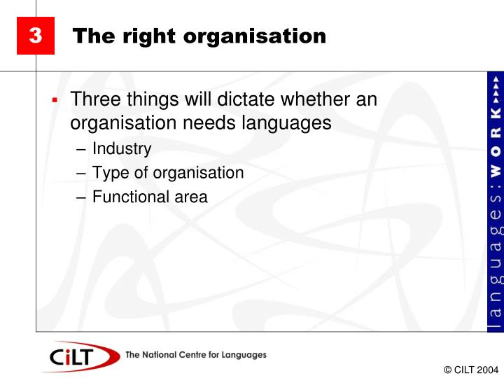The right organisation