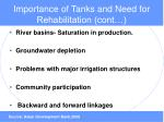 importance of tanks and need for rehabilitation cont