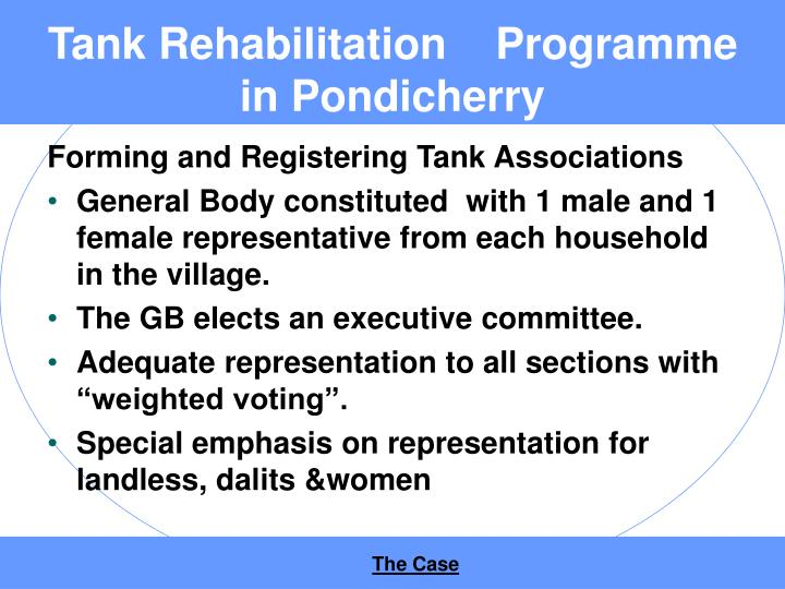 Tank rehabilitation programme in pondicherry