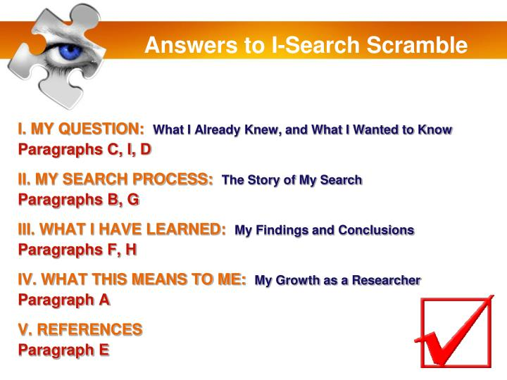 Answers to I-Search Scramble