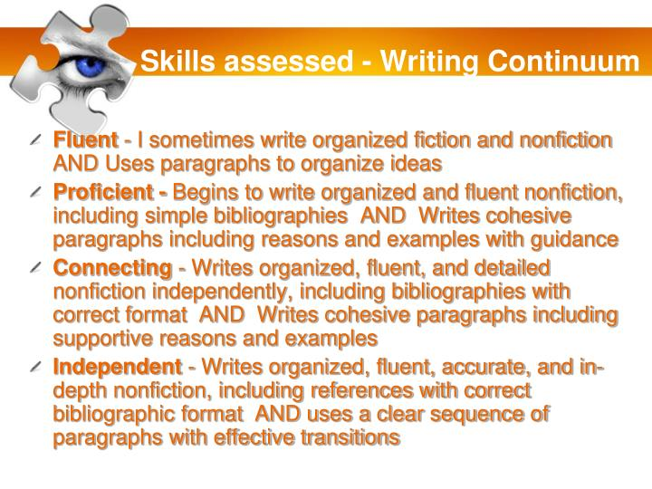 Skills assessed - Writing Continuum