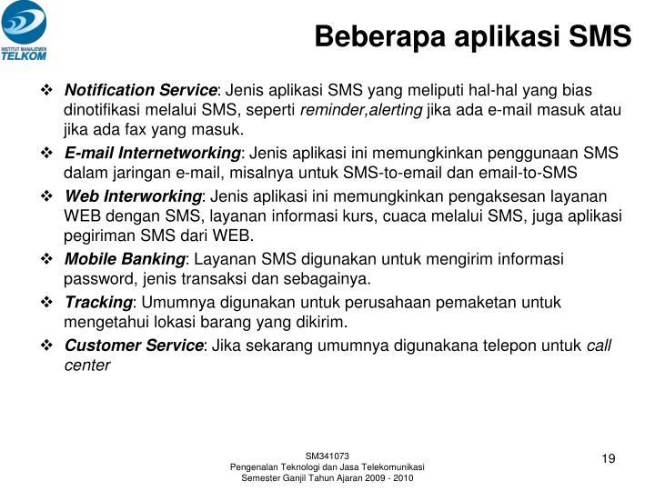 Beberapa aplikasi SMS