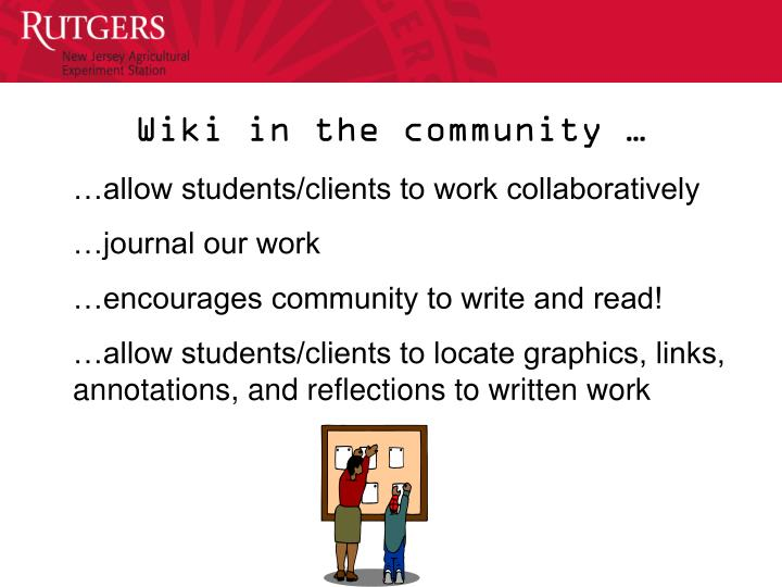 Wiki in the community …