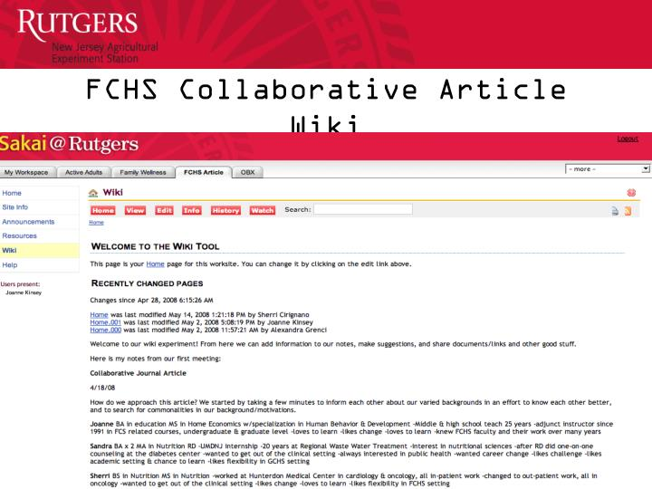 FCHS Collaborative Article Wiki