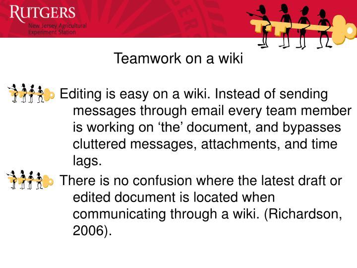 Teamwork on a wiki