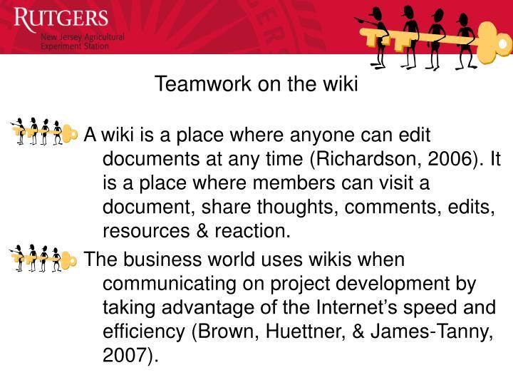 Teamwork on the wiki