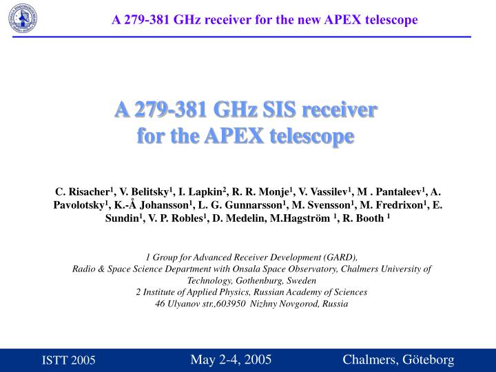A 279 381 ghz sis receiver for the apex telescope