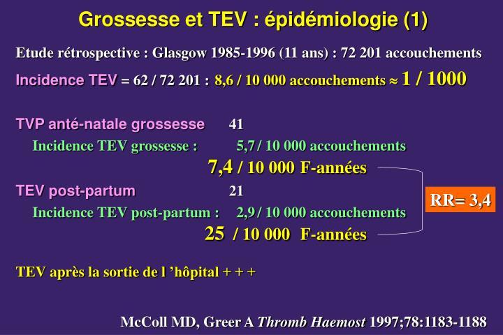 Grossesse et TEV : épidémiologie (1)