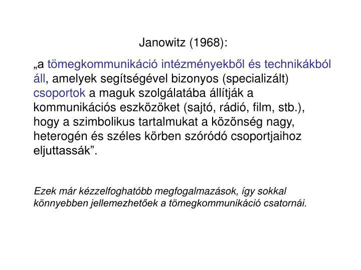 Janowitz (1968):