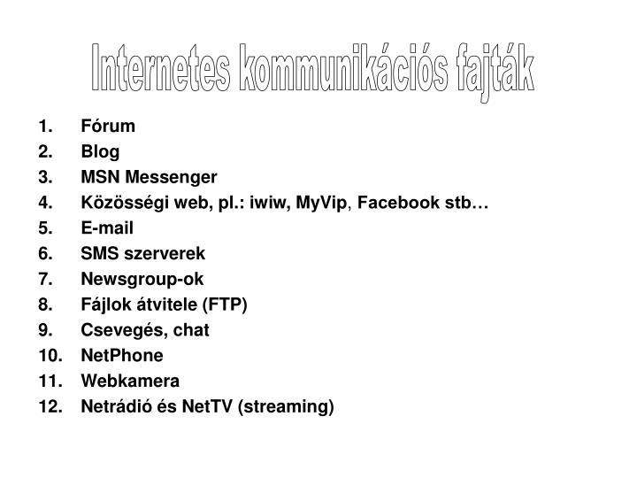 Internetes kommunikációs fajták