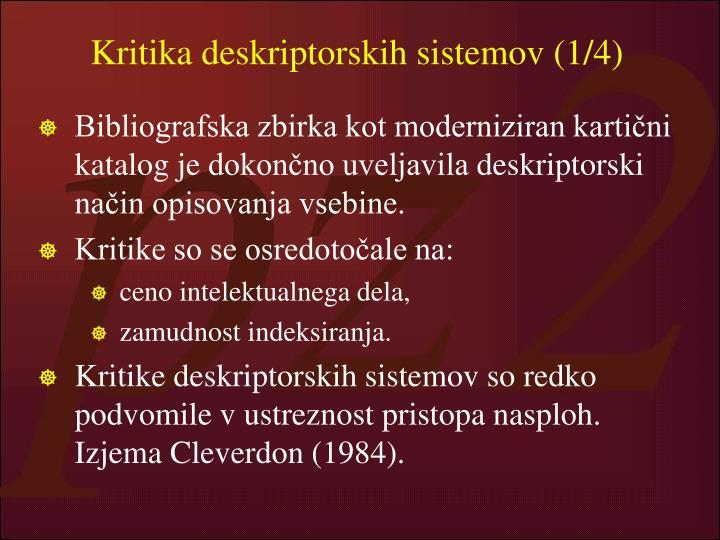 Kritika deskriptorskih sistemov (1/4)