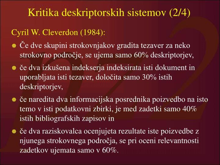 Kritika deskriptorskih sistemov (2/4)