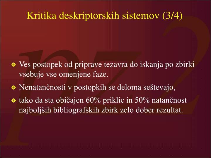 Kritika deskriptorskih sistemov (3/4)