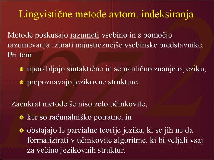 Lingvistične metode avtom. indeksiranja
