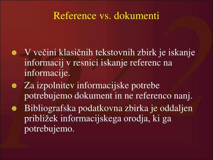 Reference vs. dokumenti