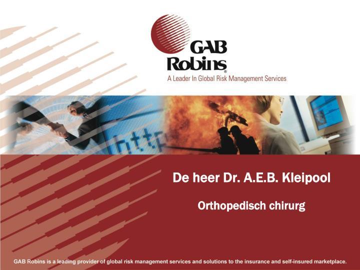 De heer Dr. A.E.B. Kleipool