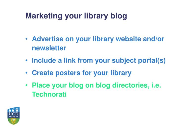 Marketing your library blog