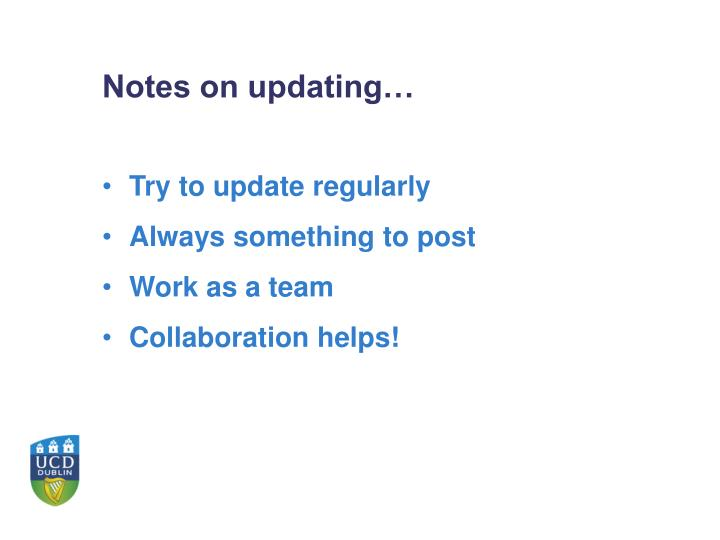 Notes on updating…