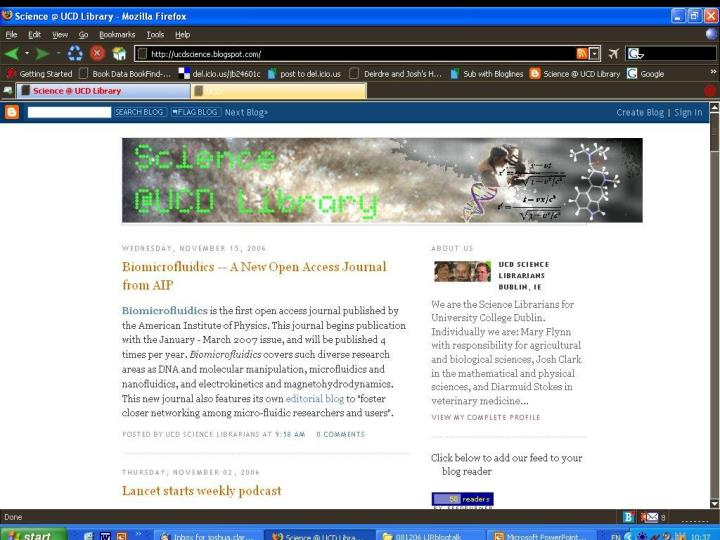 UCD Science blog screenshot here