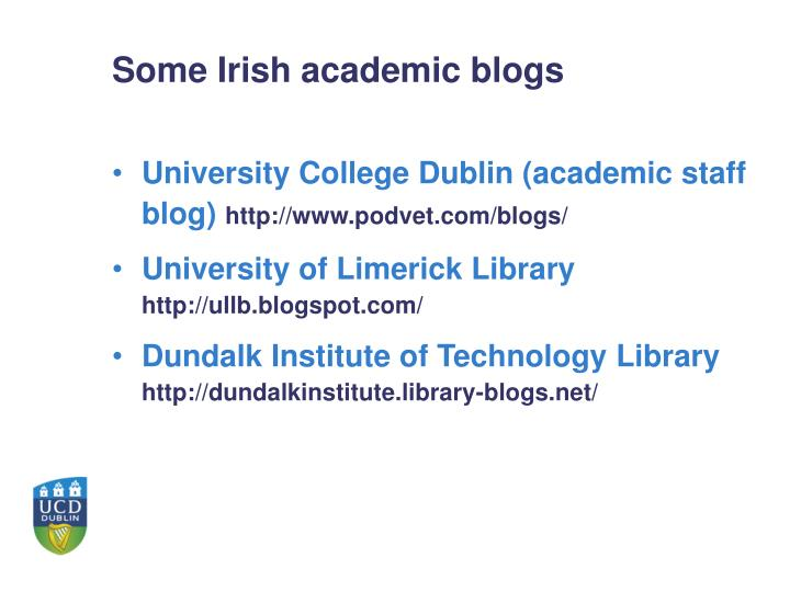 Some Irish academic blogs