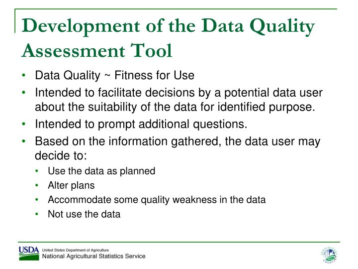 Development of the data quality assessment tool