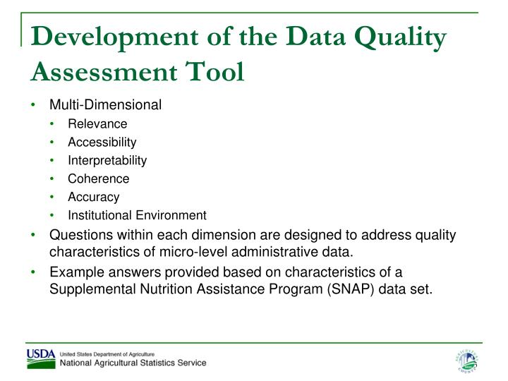 Development of the data quality assessment tool1