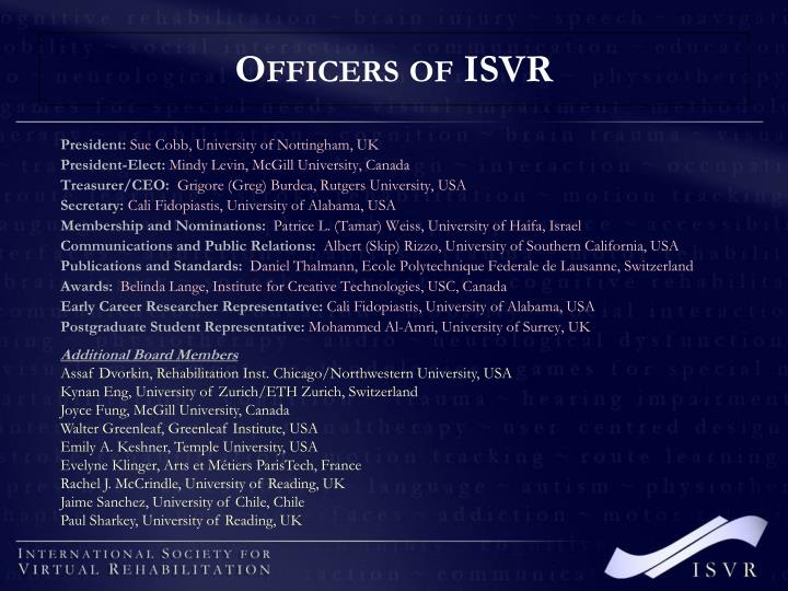 Officers of ISVR