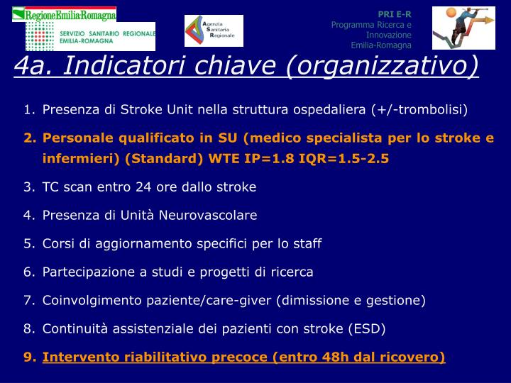 4a. Indicatori chiave (organizzativo)