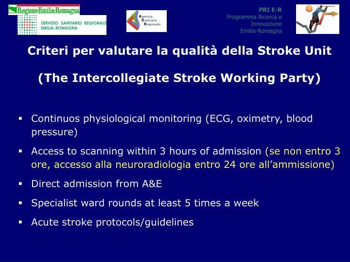 Criteri per valutare la qualità della Stroke Unit