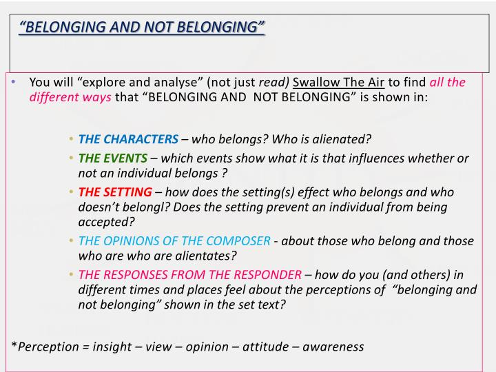 """BELONGING AND NOT BELONGING"""