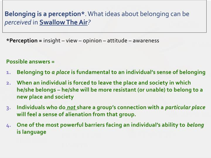 Belonging is a perception*
