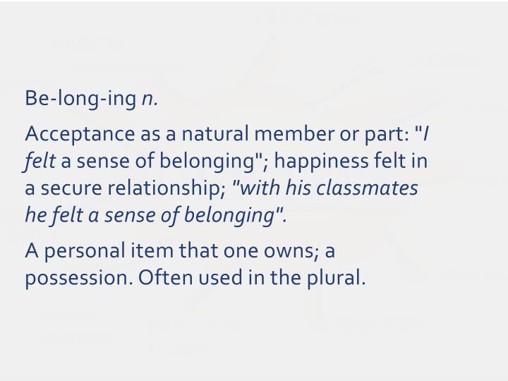 Be-long-