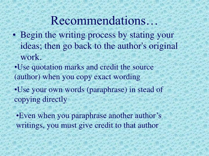 Recommendations…