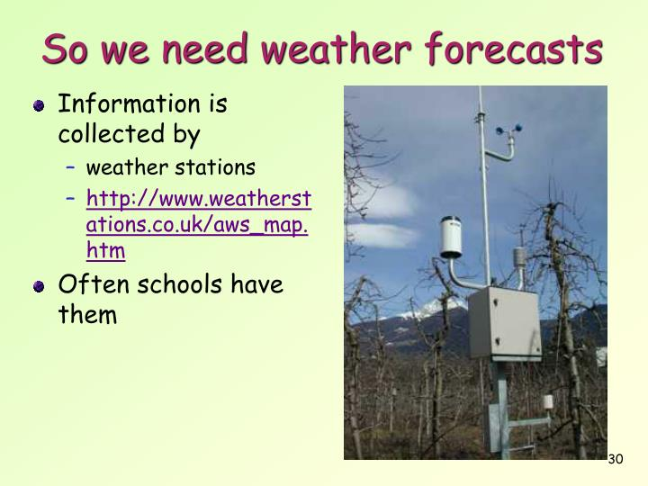 So we need weather forecasts