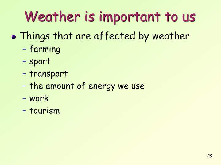 Weather is important to us