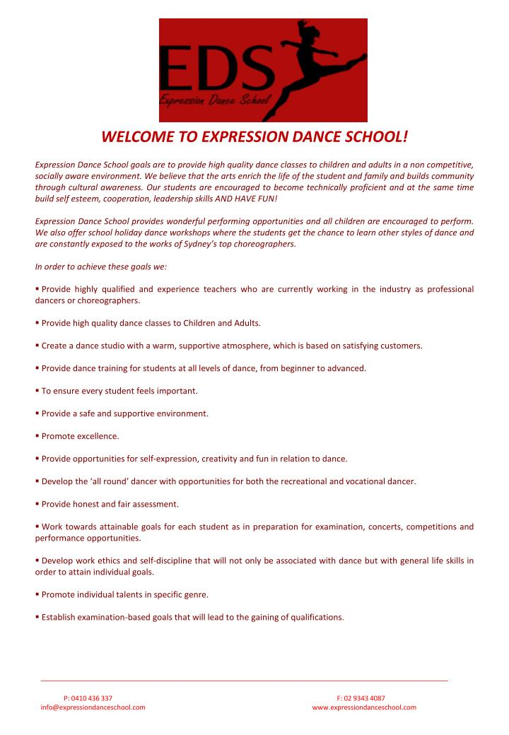 WELCOME TO EXPRESSION DANCE SCHOOL!