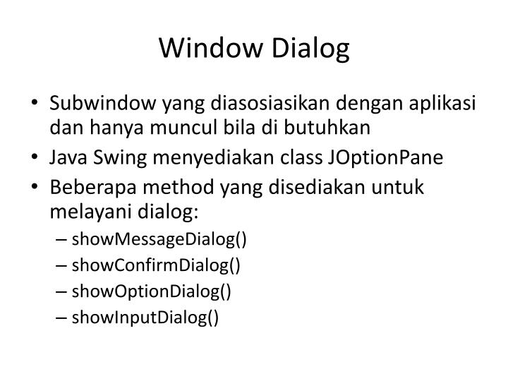 Window Dialog